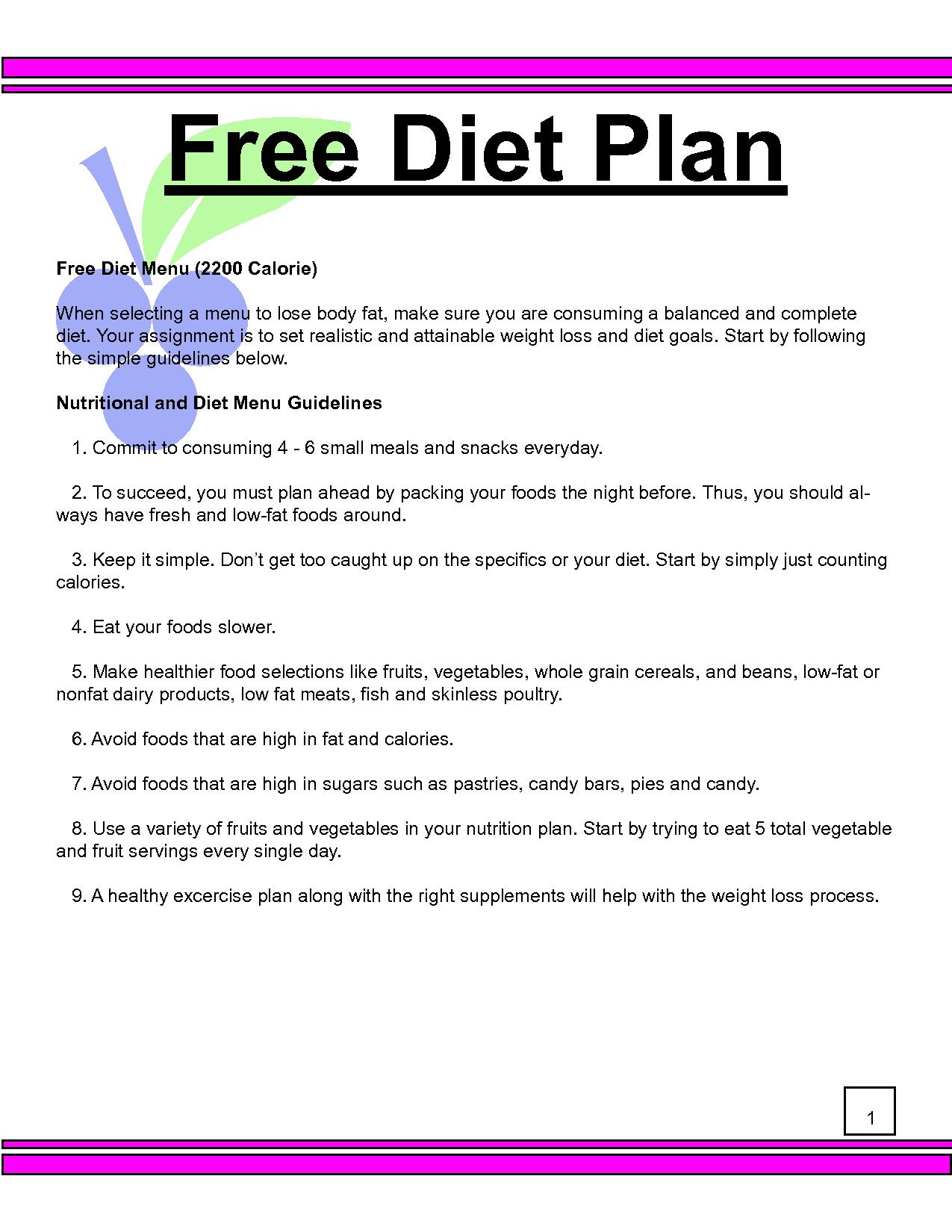 Diet nutrition plans free