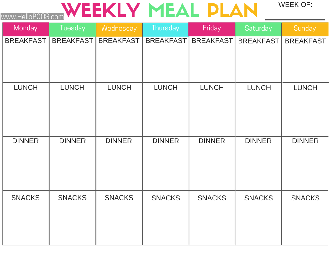 Refreshing image in printable diet planner