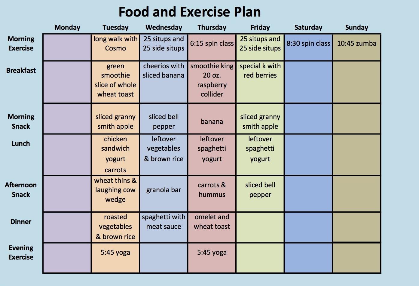 Diet Plan And Exercise Schedule – Diet Plan