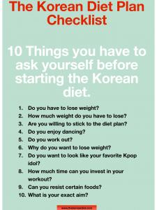 Korean Diet Plan And Exercise - Diet Plan