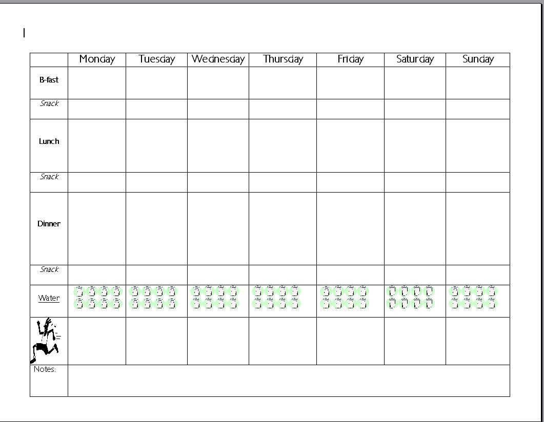 fitness meal planner template