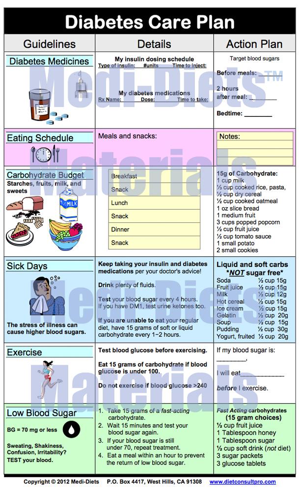 Diabetes Care Plan Template - Diet Plan