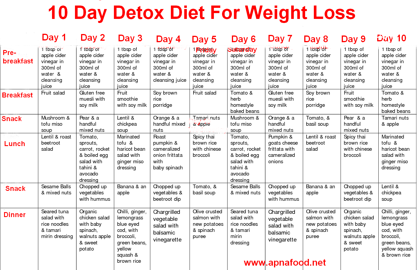 10 day diet plan to lose weight fast