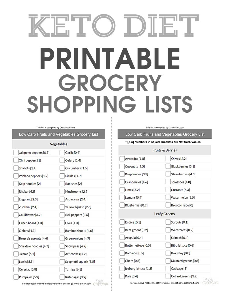 Low Carb Vegetables List Pdf